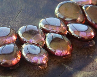 Rose Gold Topaz Luster Czech Glass Beads, 16mm Pear Shaped Drop - 10 pcs - e65491-1216