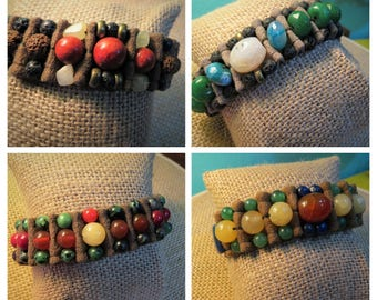 Fabric bracelet and semi-precious stones