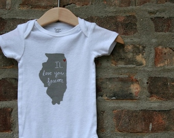 illinois baby clothing, long-sleeve Onesie®, illinois Onesie®, illinois love, shower gift, baby neutral, cute baby gift,