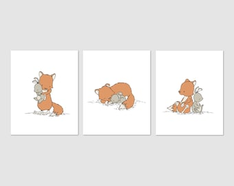 Woodland Nursery Art -- Fox and Bunny Friends -- Set of 3 Prints