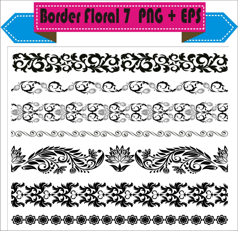Border Floral Flowers Vintage Corner Retro Vector Clipart PNG