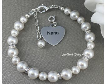 Nana Bracelet Swarovski Bracelet for Grandma Bridal Party Bracelet Wedding Jewelry Pearl Bracelet Gift for Grandma Grandmother Nana Jewelry