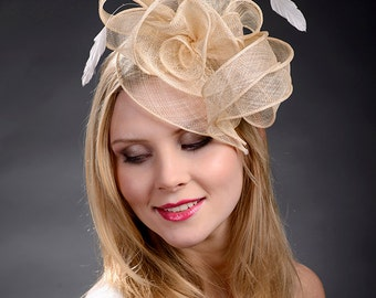 Beige champage gold fascinator hat for weddings Ascot Derby