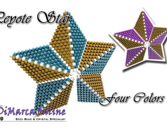 Beading Pattern/Tutorial Four Colors 3D PEYOTE STAR + Basic Instructions