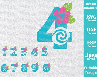 INSTANT DOWNLOAD SVG Disney Inspired Princess Moana Numbers Birthday Girl for Cutting Machines Svg, Esp, Dxf, Jpeg Format Cricut Silhouette