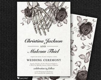 Skeleton Wedding Invitation, Death Wedding Invitation, Gothic, Goth, Victorian, Wedding Program, Menu, RSVP, Skeleton, Vintage, Bones, Peony