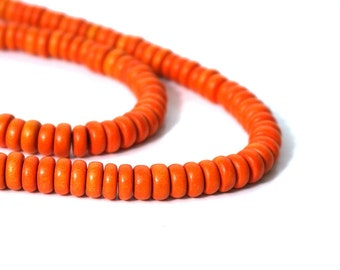 Wooden Rondelle Beads, Orange 8mm x 4mm, eco-friendly wooden beads (1017R)
