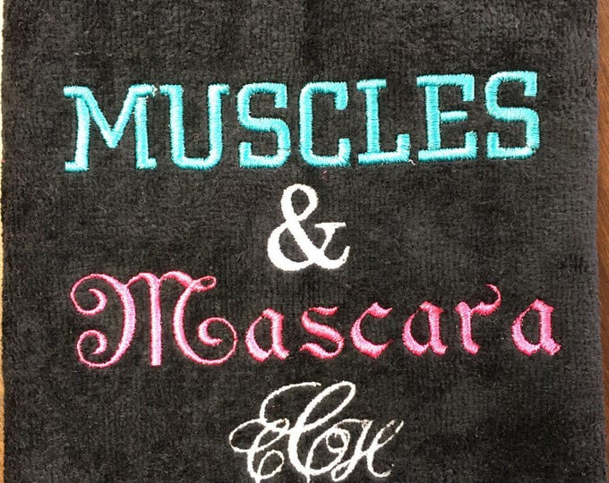 Gym towel, Muscles & Mascara, Personalized, workout towel, sweat towel, exercise towel, sport towel, exercise gift,
