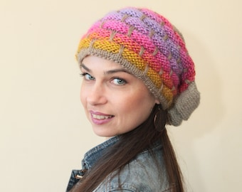 Slouchy Beanie Knit Hat, Colorful Slouch Hat by Solandia, Hand Knitted, women Christmas Gift
