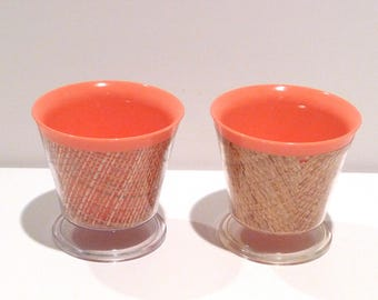 Insulated Dessert Cup Set of 2 Vintage Burlap Raffiaware Bowls 1960s Woven Straw Thermo Pastel Plastic Melmac Patio Snacks Ice Cream Tiki