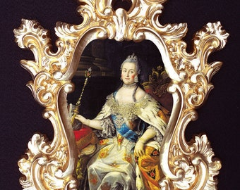 Catherine the Great portrait in Baroque/Rococo frame. Wall decor.