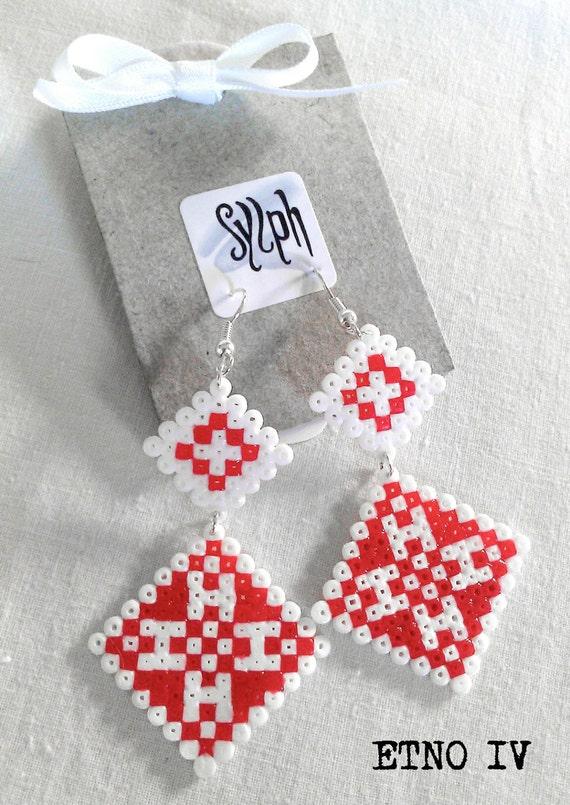 Earrings made of Hama Mini Beads - Etno IV