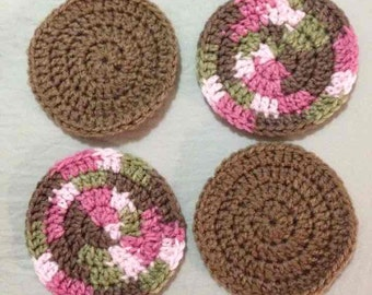 Set of 4 crocheted yarn coasters