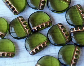 Czech Glass Beads - Olive Green and Gold - Elephants Feet - Bead Soup Beads