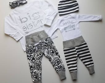 Baby Boy Coming Home Outfit. Matching Sibling Set. Big Sister. Little Brother. Newborn Baby Boy Coming Home Outfit. Welcomr Home Baby Outfit