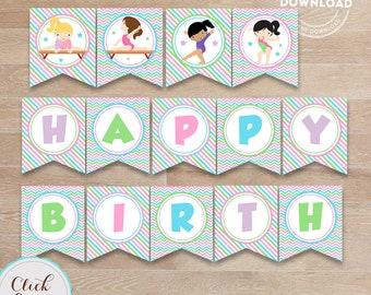 Gymnastic Birthday Banner, Printable Pennant Banner, Birthday Party Decorations, Birthday Party Supplies Instant Download