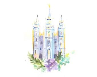 Salt Lake City LDS Temple Watercolor Print in Cool Blues