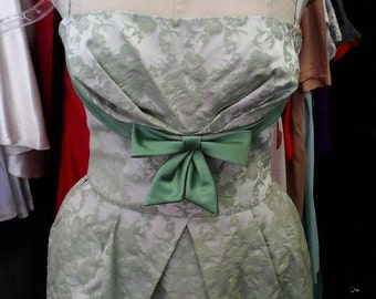 Super Sultry NOS Early 60s Designer Tone on Tone Celadon Green French Bustier Cocktail Dress - M