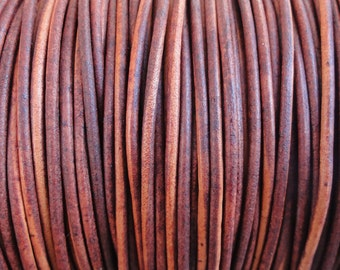 10 Yard Increments 2mm Turkey Red Natural Dye Genuine Leather Cord Round