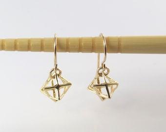Tiny Merkba earrings , gold filled merkaba earrings , Tiny gold star earrings , kabala jewelry , 3D Magen david earrings