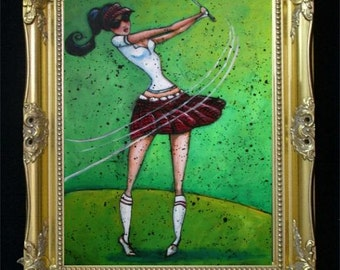 Beautiful Golf Girl Woman Colorful Art Print from Original Painting by Shano Feminine / Elegant / Beautiful / Sexy / Springtime / Summer