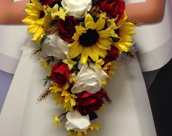 "NEW Wheat Wedding Flowers, Western Sunflower, Red Rose Bouquet, ""Country Lovin"" Bouquet"