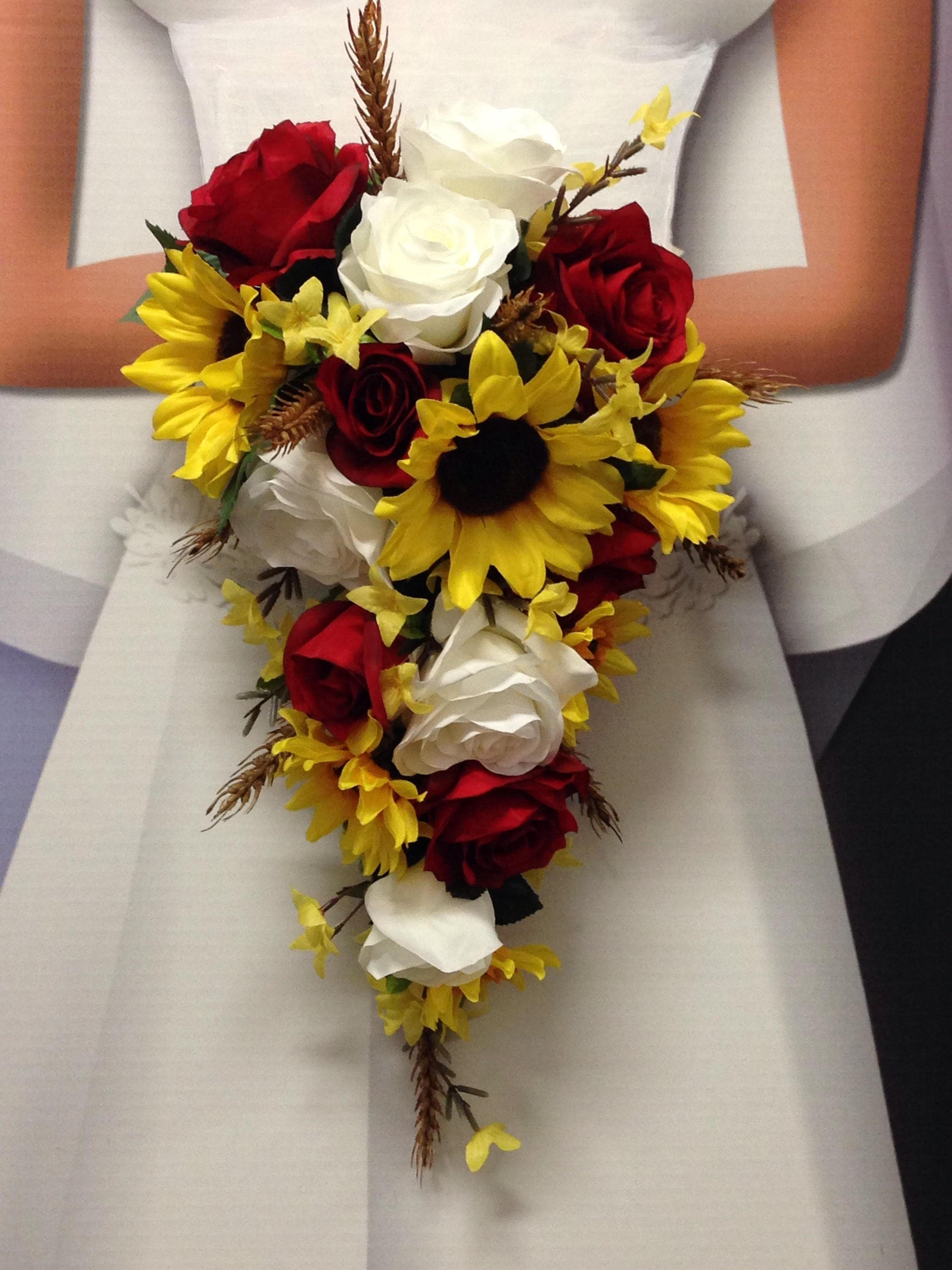 Sunflower And Pink Rose Bouquet NEW Wheat Weddi...