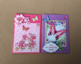 Set of 2 mini cards, flowers and butterflies