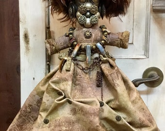 Original Mardi Gras MisChief Doll Ancient Tribal Artdoll by Artist Connie Born