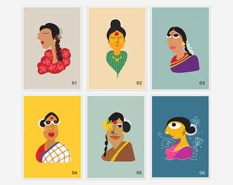 A5 Indian Women Art Prints - Indian culture - Giclee Prints