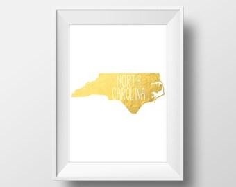 North Carolina State Gold Foil Printable Art, North Carolina Print, North Carolina Art, Modern Art,