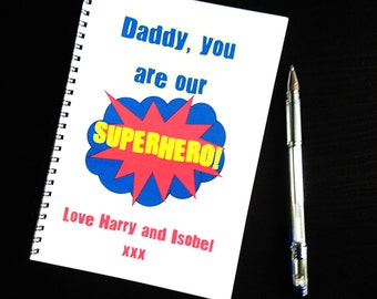 Personalised Superhero Lined Notebook, gift for Dads, Step Dads, Mums, Grandparents