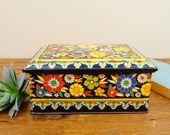 Vintage Daher Tin Box Container Made In England Flowers