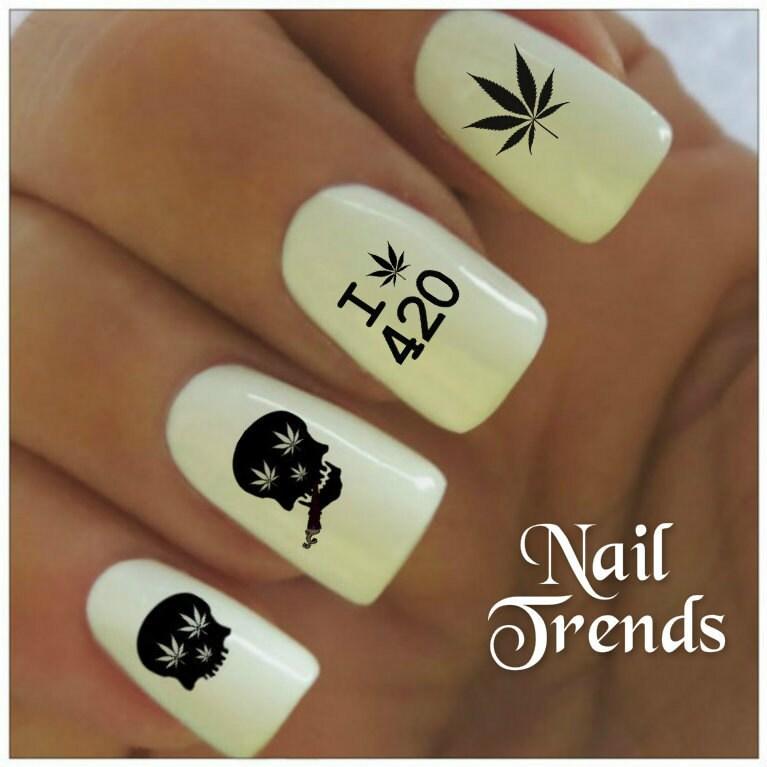 Cannabis Nail Decal 20 Marijuana Skull Vinyl Adhesive Decals Nail ...