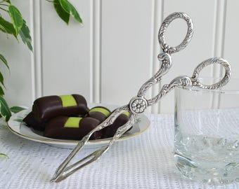 Long sandwich and pastry serving tongs, vintage Swedish serving , Nils Johan Sweden, 50s high tea utensil