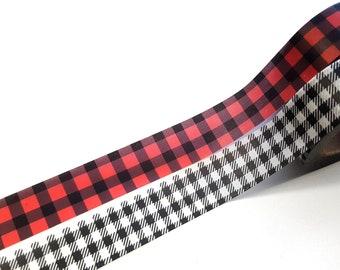 Plaid Washi Tape, Buffalo Plaid Washi Tape, Red and Black Washi Tape