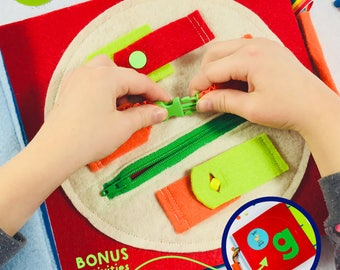 Buckle Page for TinyFeats Quiet Book - Button, Snap, Buckle and Zip Montessori Activity - Educational Toy for Toddler and Preschool Kids