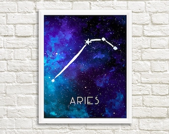 Aries Constellation, Art Print, Watercolor, Blue, Aqua, Aquamarine, Night Sky, Space, Stars, and Horoscope, Digital File, Instant Download