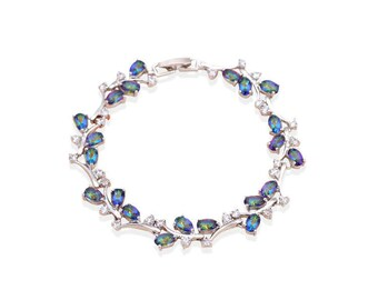 Mystic Topaz Bracelet 14K White Gold Filled / Mystic Topaz Jewelry
