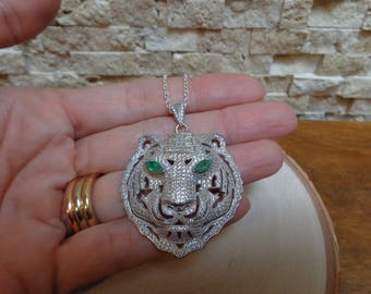 Emerald Pave Tiger in Sterling Silver on 18 inch chain necklace