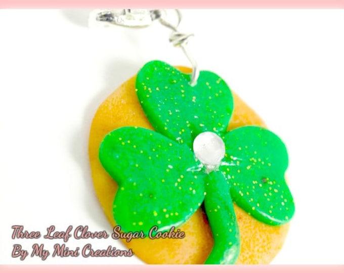 Three Leaf Clover Sugar Cookie Charm, St. Patricks Day, Miniature Food Jewelry, Miniature Food