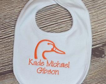 Baby Bib for Boy, Duck Hunting Baby Bib, Duck Hunter Baby Gift, Duck Baby Bib, Personalized Baby Bib, Bib with Name, Camo Baby Gift