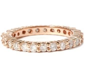 1.50CT Diamond Eternity 14K Rose Gold Wedding Anniversary Ring Band Size 4-9