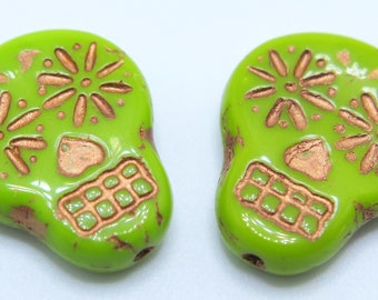 Czech Beads, Sugar Skull Beads, Chartreuse and Copper Skulls, 2 pieces, SSB7, 20X17mm, Jewelry Supplies, Zardenia