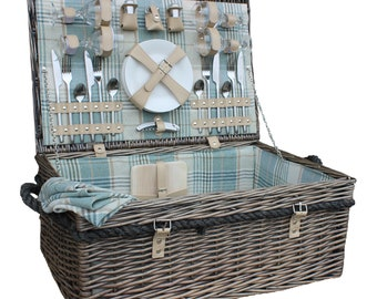 Luxury 4 Person Quintessential British Classic Rope Handled Picnic Basket / Picnic Hamper / Inspiring a Very English Day at the Races