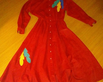 Trego's 1980 Western Prairie red native American ROCKABILLY Dress 8 ultra suede