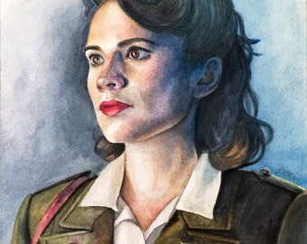 Agent Carter - Peggy Carter - Captain America - Watercolor Art Print