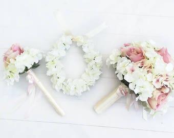 Flower Girl Wand, Hydrangea Rose Wand, Pastel Wand, Flower Girl Flowers, Flower Girl Accessories, Flower Wand, Butterfly Wand, Fairy Wand