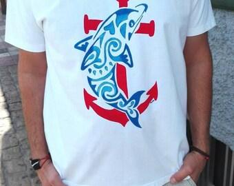 Tribal Dolphin t-shirt, anchor t-shirt, nautical shirt, sailor tshirt, hand painted, 100% cotton t shirt, custom tshirts