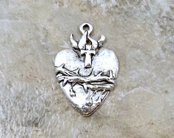 Pewter Sacred Heart Charm - 1898